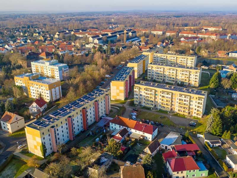 Solardächer eine Wohnhsiedlung